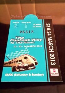 Tiket KLIA Transit dari KL Sentral ke Sepang.